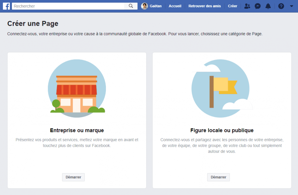 etape 1 creer page professionnelle facebook