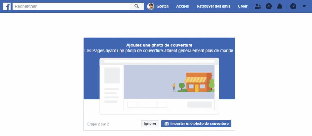 etape 3 - ajouter la photo de couverture pour la page professionnelle facebook