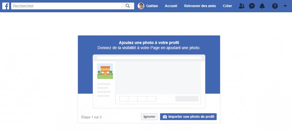etape 3 - ajouter photo de profil de la page professionnelle facebook