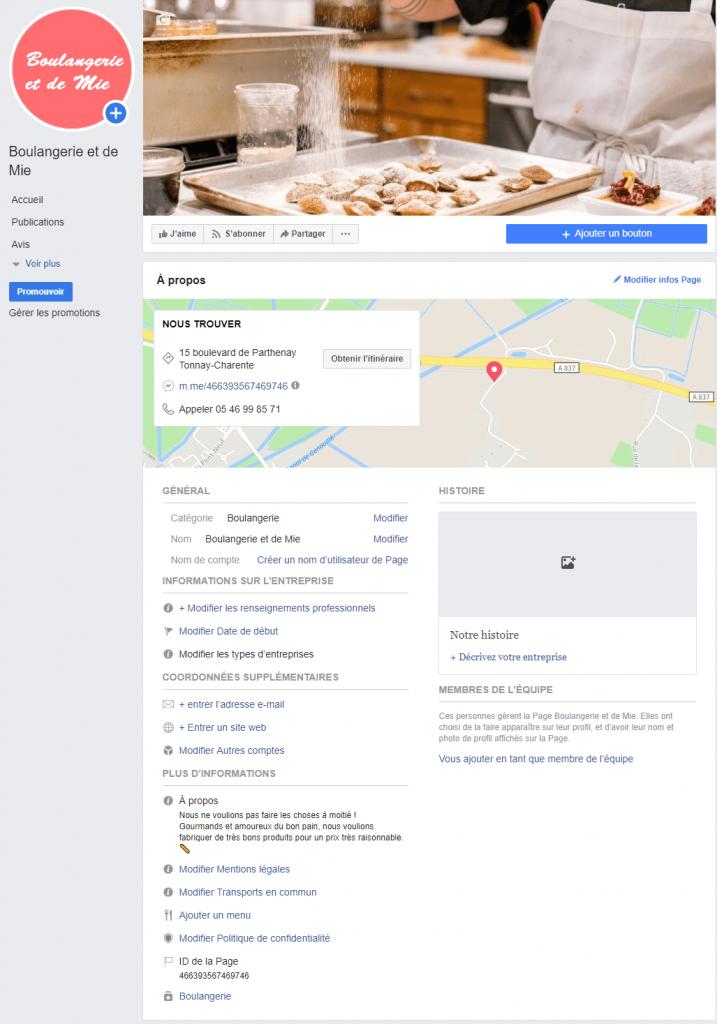 etape 5 - section a propos de page professionnelle facebook