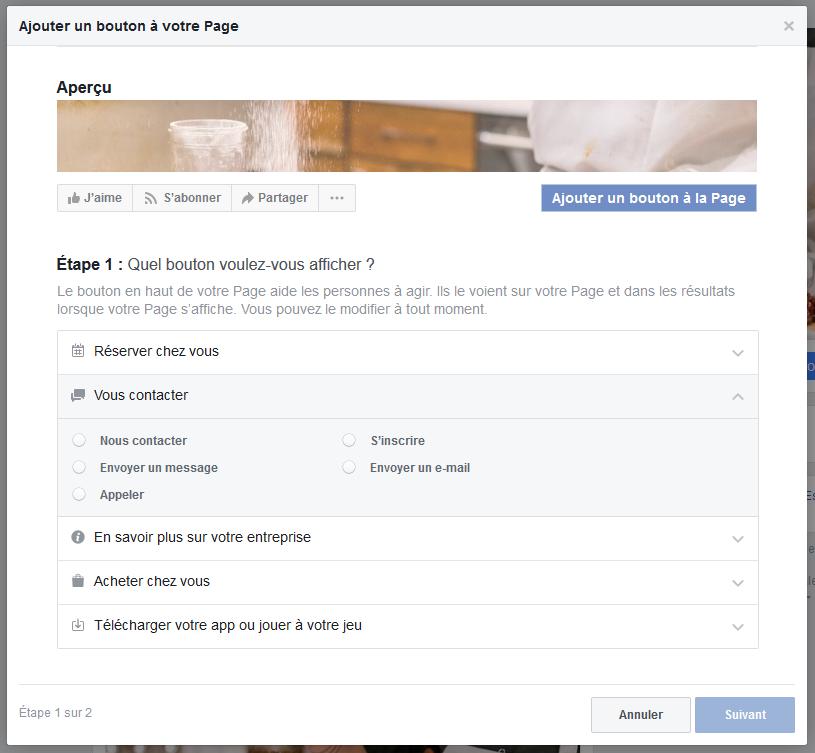 etape 7 - bouton cta page professionnelle facebook