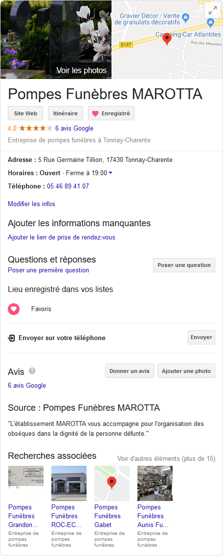fiche Google My Business des Pompes Funèbres MAROTTA
