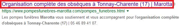 référencer son site sur google avec une balise title optimisée pompes funèbres marotta