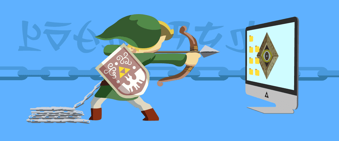 illustration du backlink avec le personnage de Link des jeux Zelda pointant Eye Switch sur un fond d'écran d'ordinateur