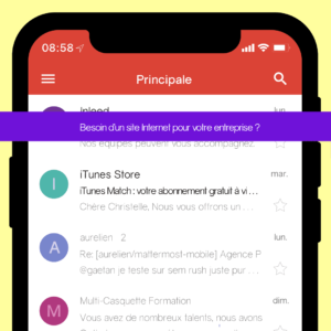 objet d'un email marketing dans une application messagerie