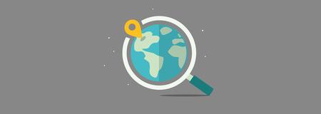 Étiquette - Image planète avec loupe