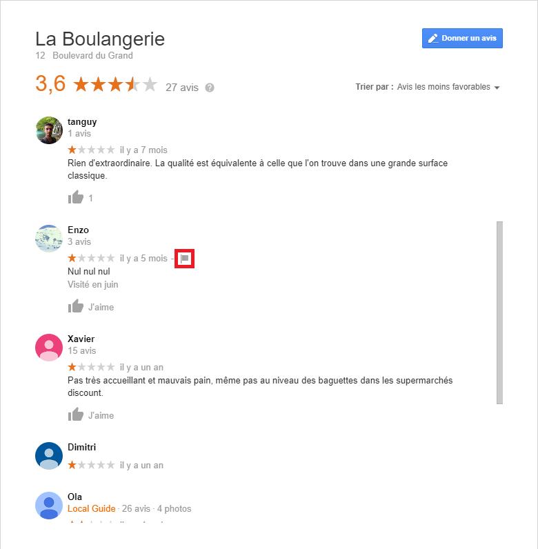 Procédure pour signaler avis Google négatif
